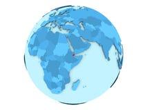 Djibouti sur le globe bleu d'isolement Images libres de droits