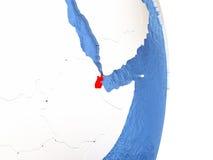 Djibouti sur le globe brillant avec de l'eau Photo libre de droits