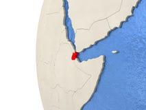 Djibouti sur le globe 3D Photographie stock
