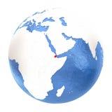 Djibouti sur le globe d'isolement sur le blanc Photographie stock libre de droits