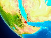 Djibouti sur le globe de l'espace illustration de vecteur