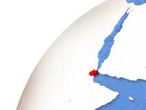 Djibouti sur le globe métallique avec les océans bleus Images stock