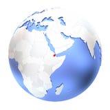Djibouti sur le globe métallique d'isolement Photographie stock libre de droits