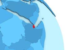 Djibouti sur le globe politique bleu Photographie stock