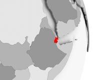 Djibouti sur le globe politique gris Photographie stock libre de droits