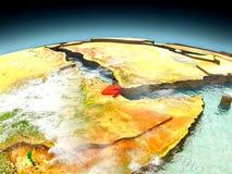 Djibouti sur le modèle de la terre Photo stock