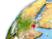Djibouti sur le modèle de la terre de planète Image libre de droits