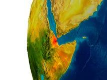 Djibouti sur le modèle de la terre de planète Images libres de droits