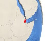 Djibouti sur le modèle du globe politique Photo libre de droits