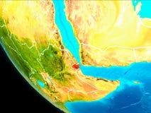Djibouti sur terre de l'espace illustration stock