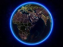 Djibouti sur terre de l'espace la nuit illustration stock