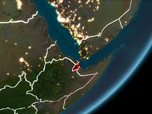 Djibouti sur terre de nuit illustration stock