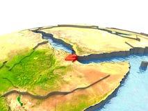 Djibouti sur terre en rouge Photographie stock