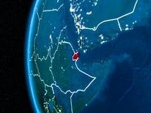 Djibouti sur terre la nuit Photos stock