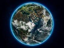 Djibouti sur terre la nuit illustration stock