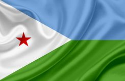 Djibouti vinkande flagga stock illustrationer