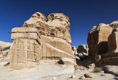 Djinn Block - de monumenten die als graf en gedenkteken aan doden dienden petra jordanië Stock Foto's