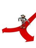 Djoby de robot die door twee keuzen wordt geblokkeerd Stock Foto's