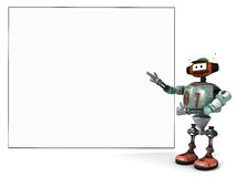 Djoby the robot showing proudly a big empty poster Royalty Free Stock Photo