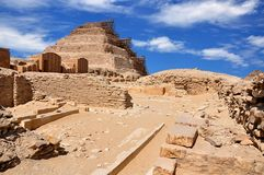 Djoser`s great step pyramid in Saqqara. Ancient Egypt. stock photography