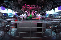 DJs in club, extraordinary luxury interior of bar Royalty Free Stock Photos