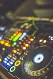 DJs Deck. DJs Equipment, music player in the nightclub royalty free stock photos