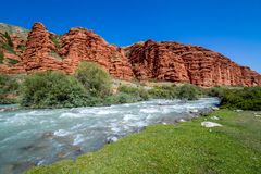 Djuku river along majestic rock formations Stock Photos