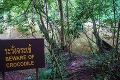 Djungel- och krokodilvarningstecken Royaltyfria Bilder