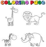 Djungeldjur som färgar sidan stock illustrationer