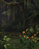 Djungeldrömmarnas land med liljor vektor illustrationer