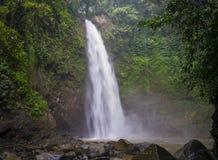Djungellandskap med flödande turkosvatten av vattenfallet på den djupa tropiska regnskogen Royaltyfri Fotografi
