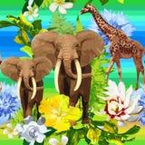 Djungelmodell av elefanter och exotiska blommor Arkivbilder