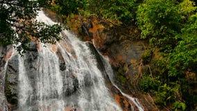 Djungelparadislandskap av det tropiska landet Vattenfallkaskad i grön regnskogrörelse av vattenflöde från klippan stock video
