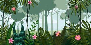 Djungelskog och blommor Träd sidor, blommor, parallax Mall för video- och rengöringsdukdesignen, apps, online spel stock illustrationer