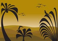 djungelsolnedgång vektor illustrationer