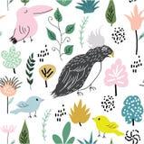 Djungeltextur med fåglar och djungelbeståndsdelar Sömlös modellvektorillustration stock illustrationer