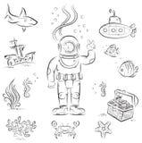Djup dykning Fotografering för Bildbyråer