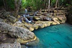 djup exotisk skogthailand vattenfall Royaltyfri Bild