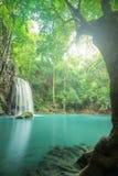 djup skogkanchanaburithailand vattenfall Fotografering för Bildbyråer