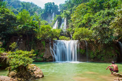 Djup skogvattenfall Royaltyfri Foto