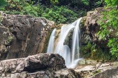 djup skogvattenfall Fotografering för Bildbyråer
