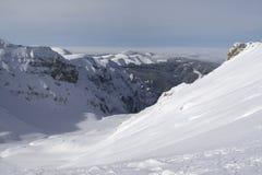 djup snöig dal Arkivfoton