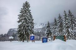 Djup Snow, Sixt Fer en Cheval, Frankrike Fotografering för Bildbyråer
