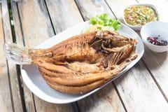 Djup stekt fisk för havsbas med thailändsk kryddig sås Fotografering för Bildbyråer