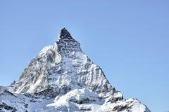 Djup syn på Matterhorn den östliga framsidan från Zermatt royaltyfri bild