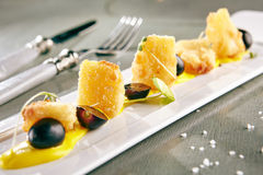 Djupa Fried Camembert med mangosås Royaltyfria Bilder