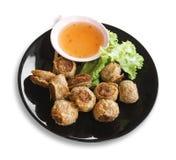 Djupa Fried Crab Roll eller frasig krabbarulle Fotografering för Bildbyråer
