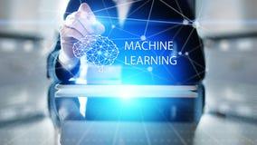 Djupa lärande algoritmer för maskin och konstgjord intelligens för AI Internet- och teknologibegrepp på den faktiska skärmen royaltyfri fotografi