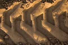 djupa sandspår för konstruktion royaltyfri bild