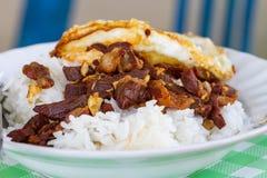 Djupa stekte griskött och ris Arkivfoto